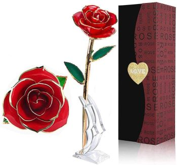24k Red Gold Plated Rose