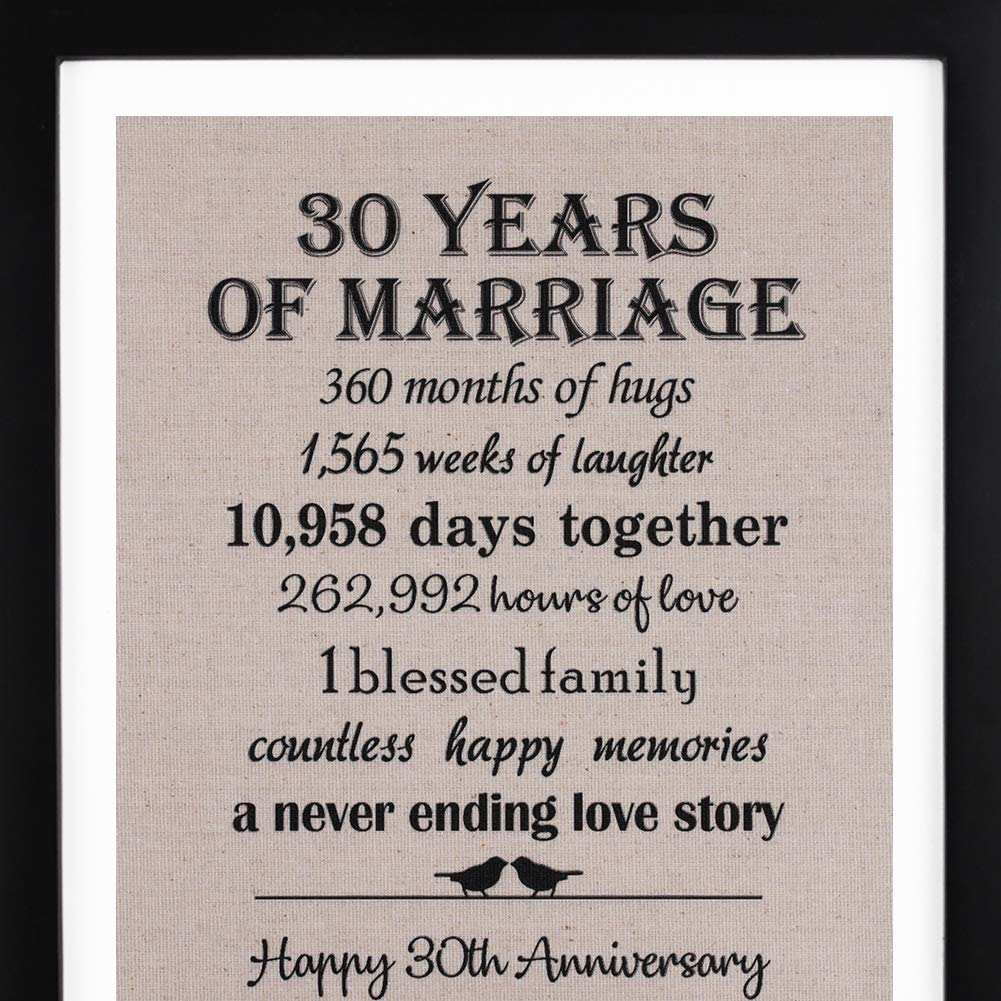 30th Anniversary Love Birds Burlap Print with Frame, 30th Wedding Anniversary Gift For Her, 30 Year Wedding Anniversary Gifts for Couple