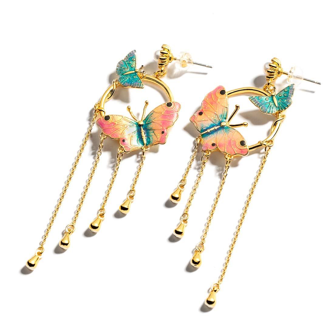 925 Silver Earrings French Enamel Butterfly, Long Tassel Earrings Drop for Women