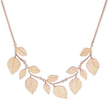 Glitter Leaf Collar Necklace