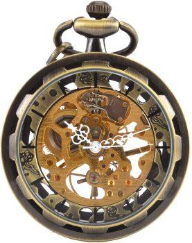 Open face skeleton pocket watch