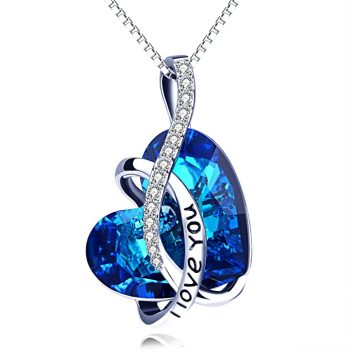Sterling Silver Heart Pendant Necklace Blue