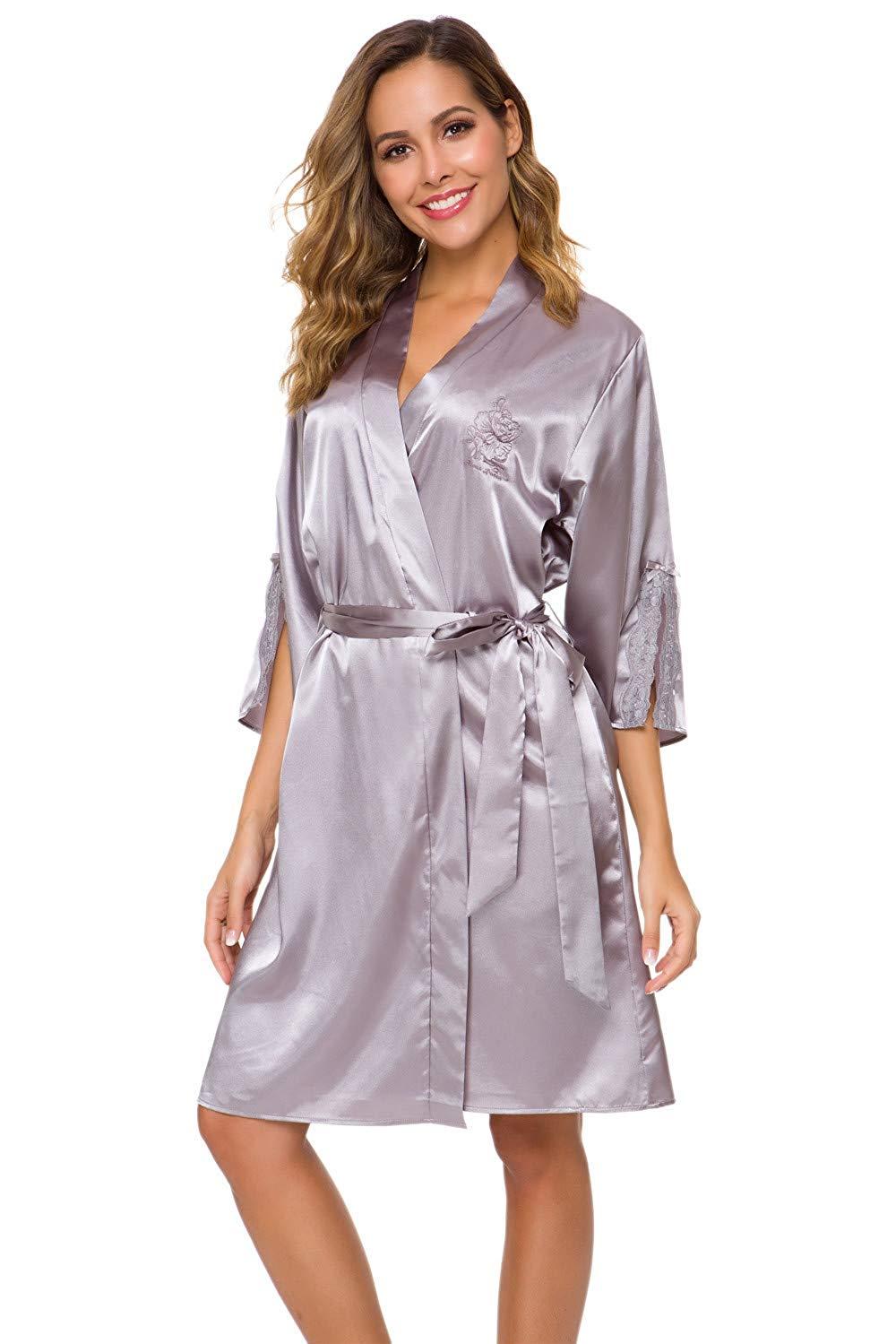 Alcea Rosea Kimono Robes for Women Satin Silky Short Bridesmaid and Bride Robe for Wedding Party with Pockets