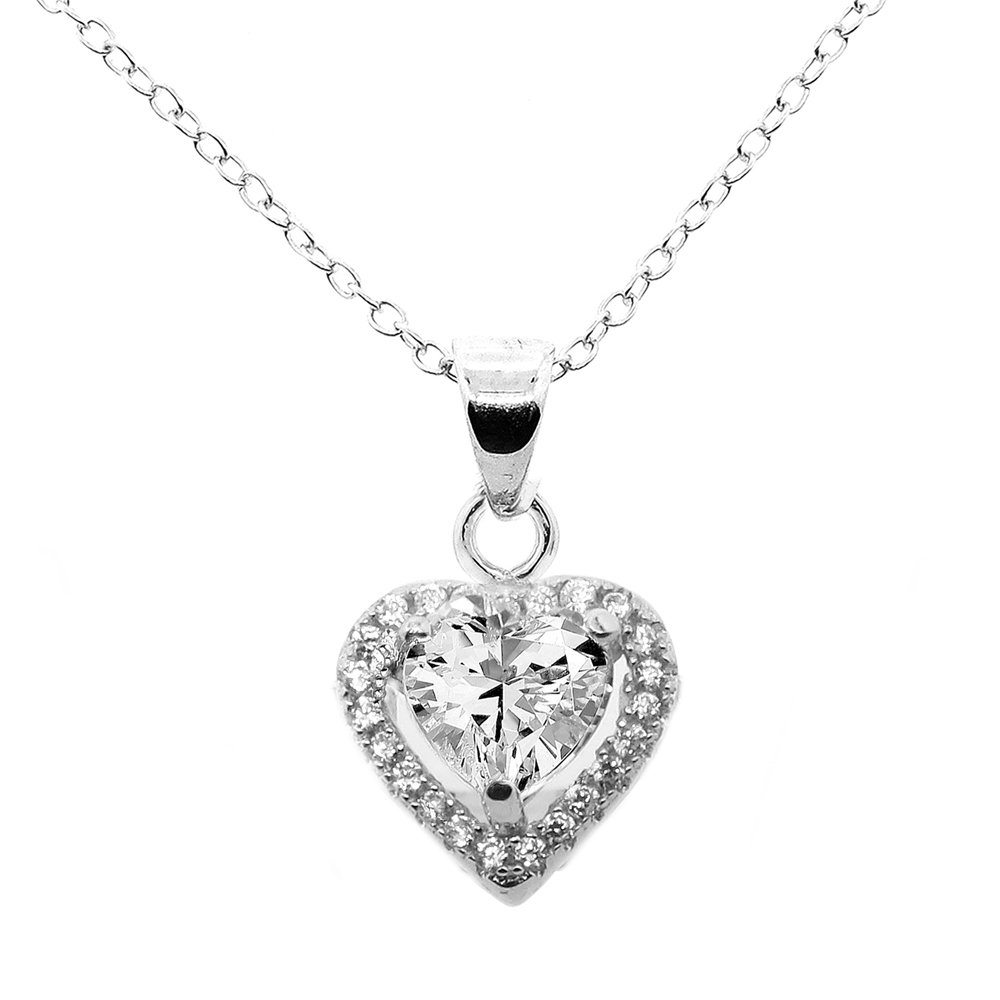 Cate & Chloe Amora Love 18k White Gold Plated Pendant Necklace - Silver Halo Heart Necklace w/Beautiful Solitaire Round Cut Cubic Zirconia Diamond Cluster - Wedding Anniversary Jewelry