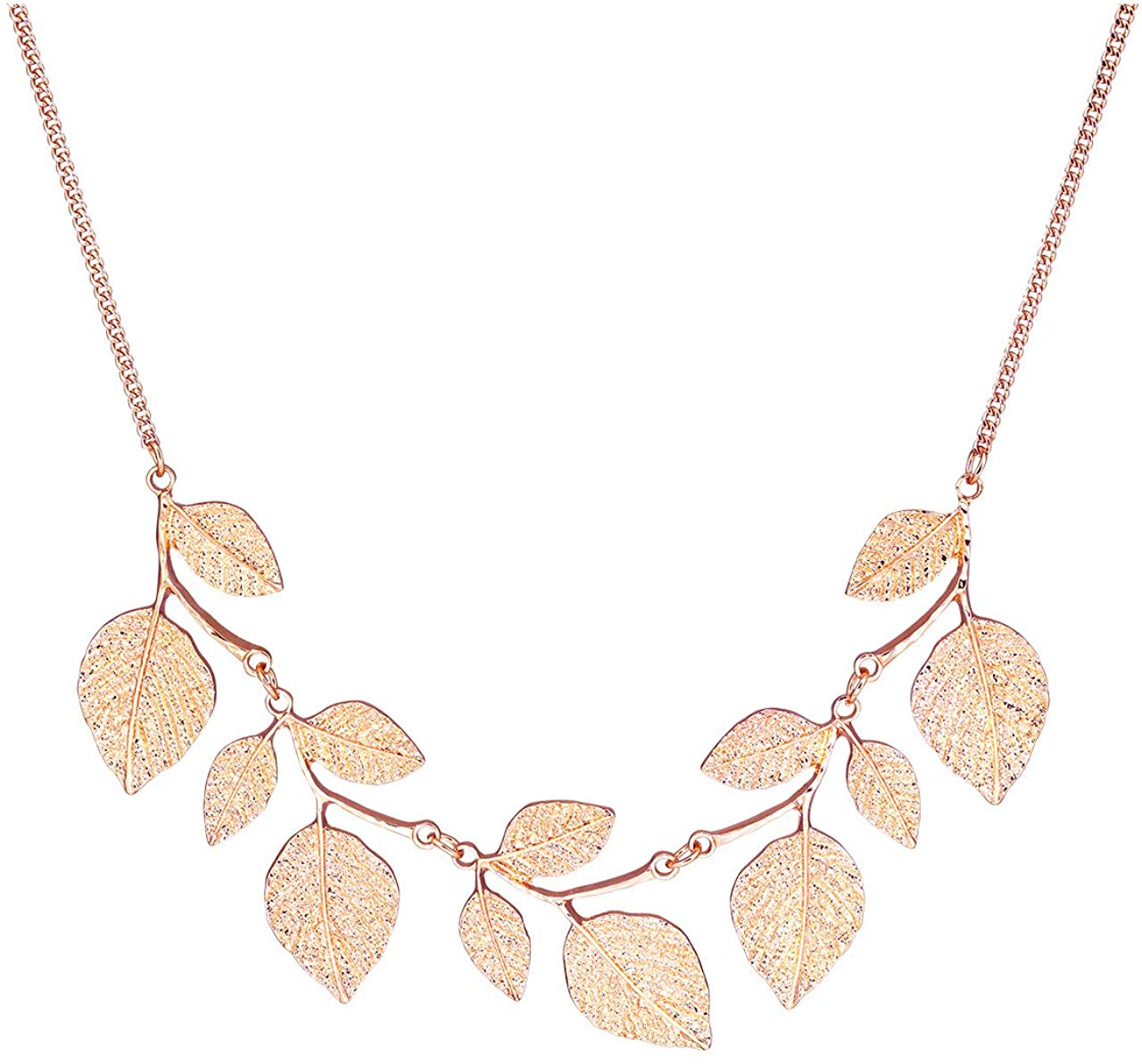 CENAPOG Bohemian Glitter Leaf Collar Necklace for Women Girls Plant Hammered Necklace Chunky Tree Life Choker Necklace Vintage Bib Necklace