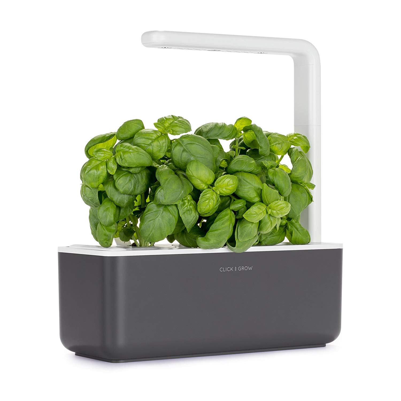 Click & Grow Smart Garden 3 Indoor Herb Garden (Includes Basil Plant Pods), Grey