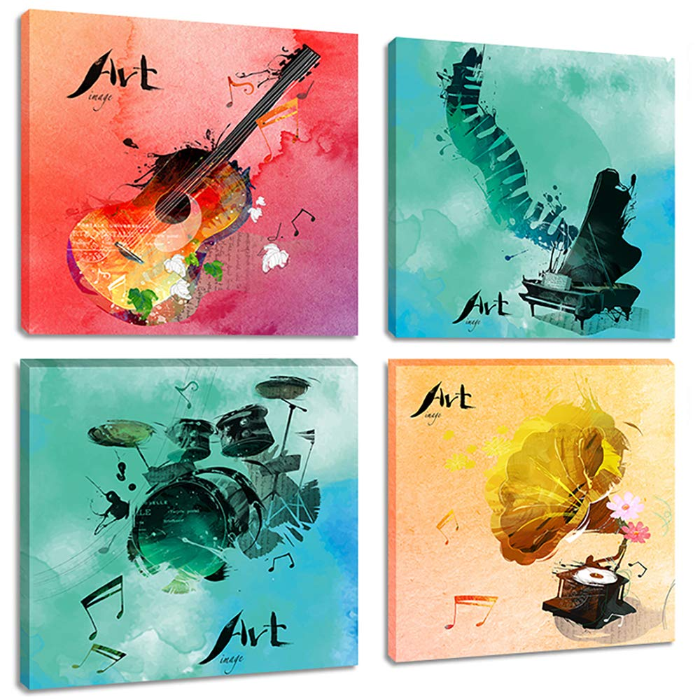 Colorful Music Canvas Wall Art Prints 4 Pieces Pop Watercolor Painting Pictures for Bedroom Living Room Decor, Gallery Wrap Ready to Hang