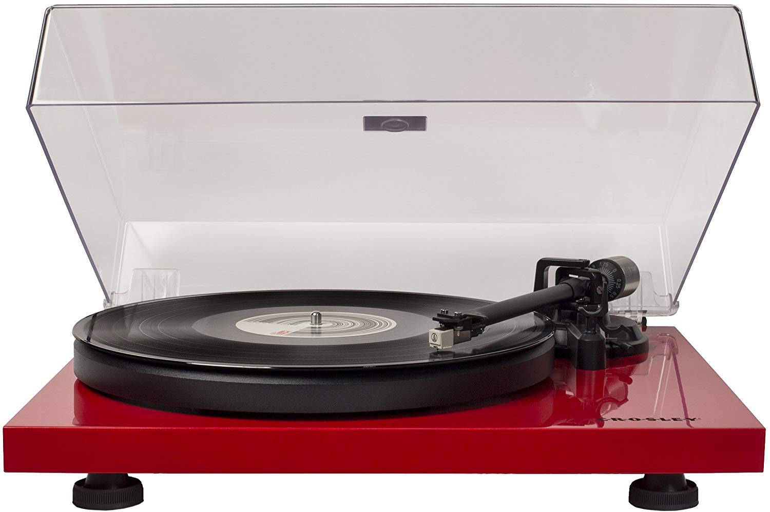 Crosley C6 Belt-Drive Turntable with Built-in Preamp and Adjustable Tone Arm, Red