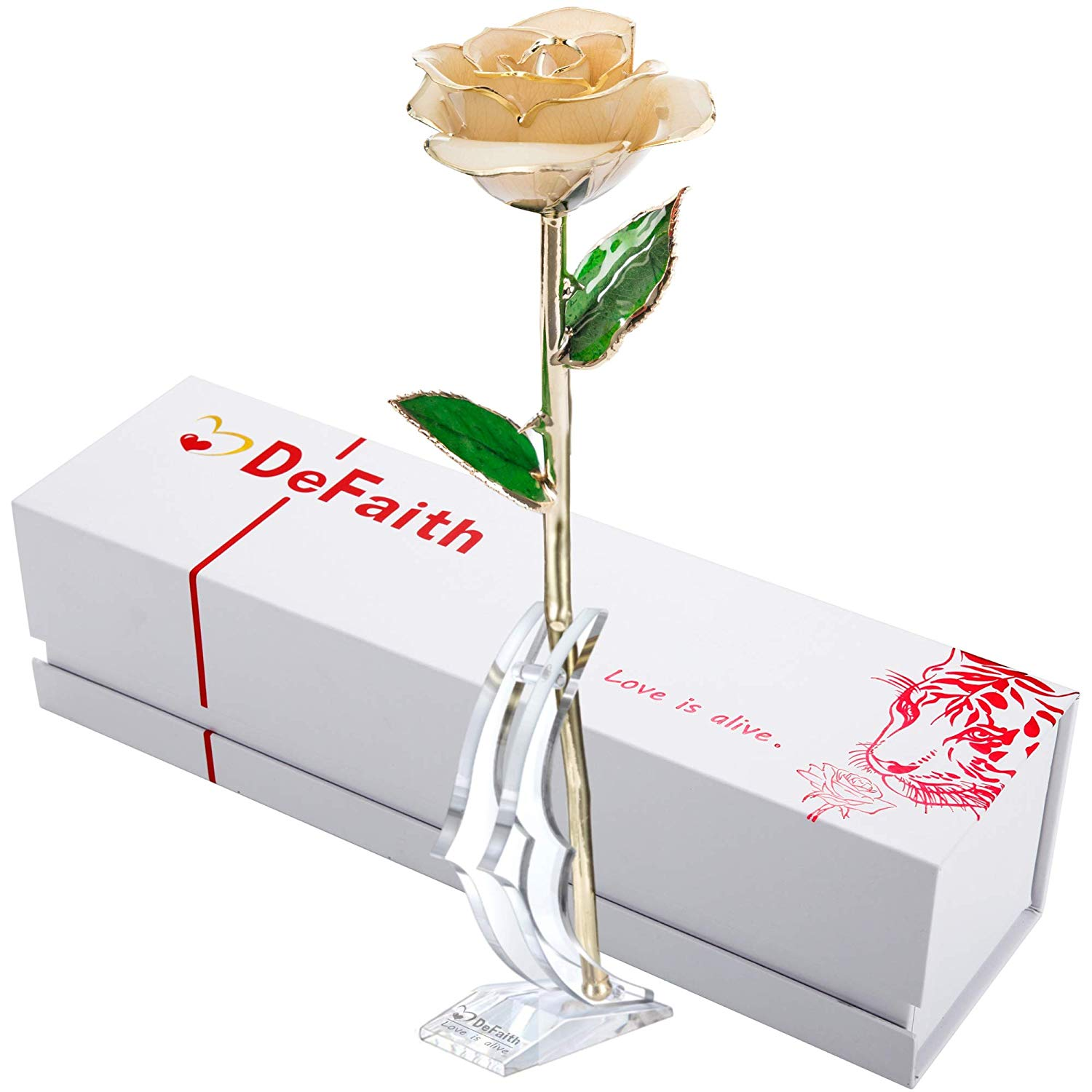 DEFAITH Real Rose 24K Gold Dipped, Forever Gifts for Her Valentine's Day Anniversary Wedding and Proposal - Ivory with Stand