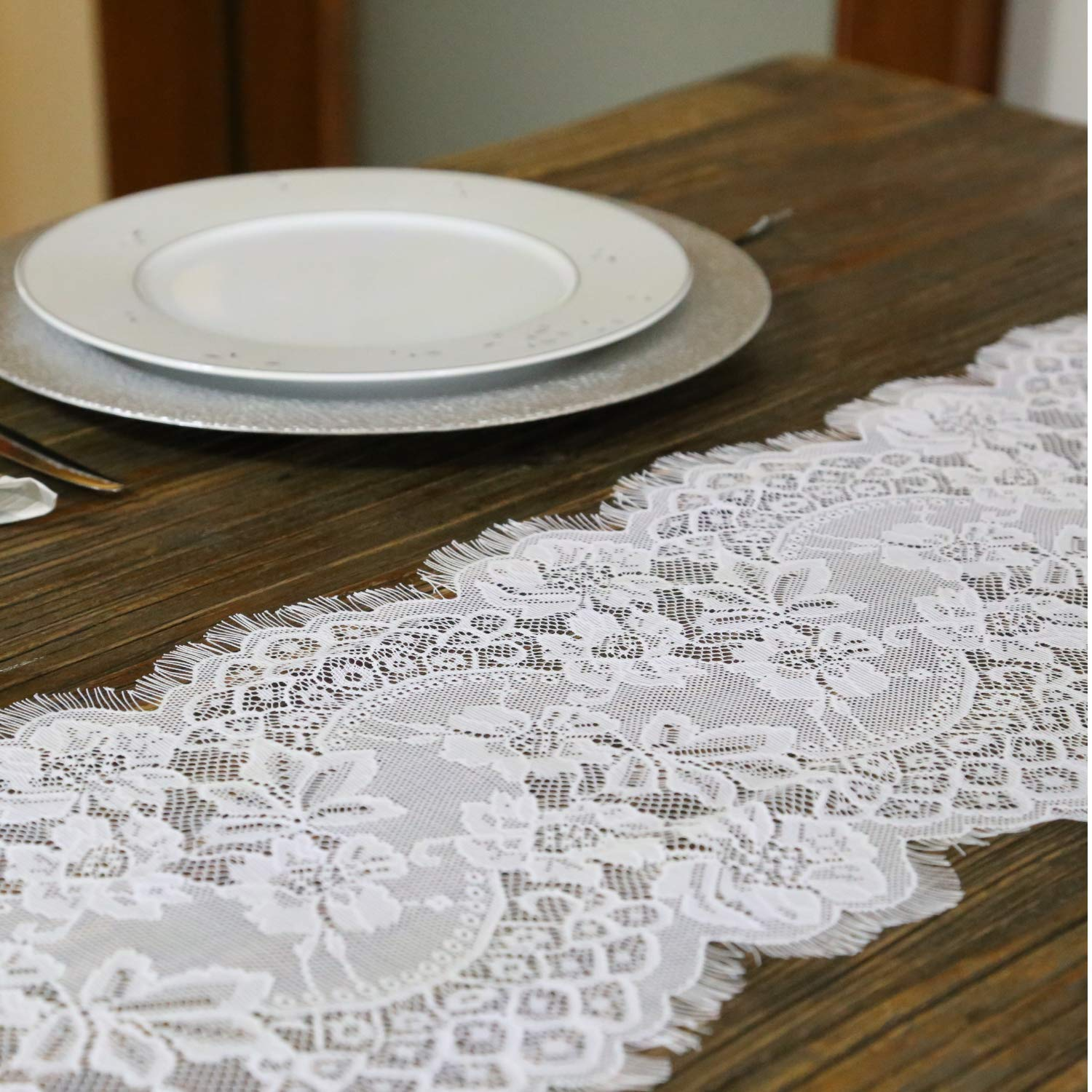 Feminen White Table Runner Elegant Chic Wedding Lace Runners Great for Spring Summer and Wedding Decor 12''x120'' (2 Pieces)