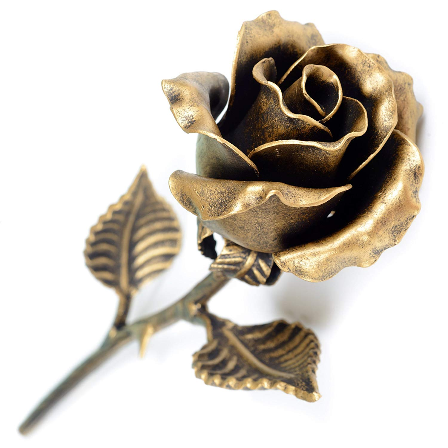 Hand forged metal rose (bronze stained) - Unique Anniversary Gift for Her
