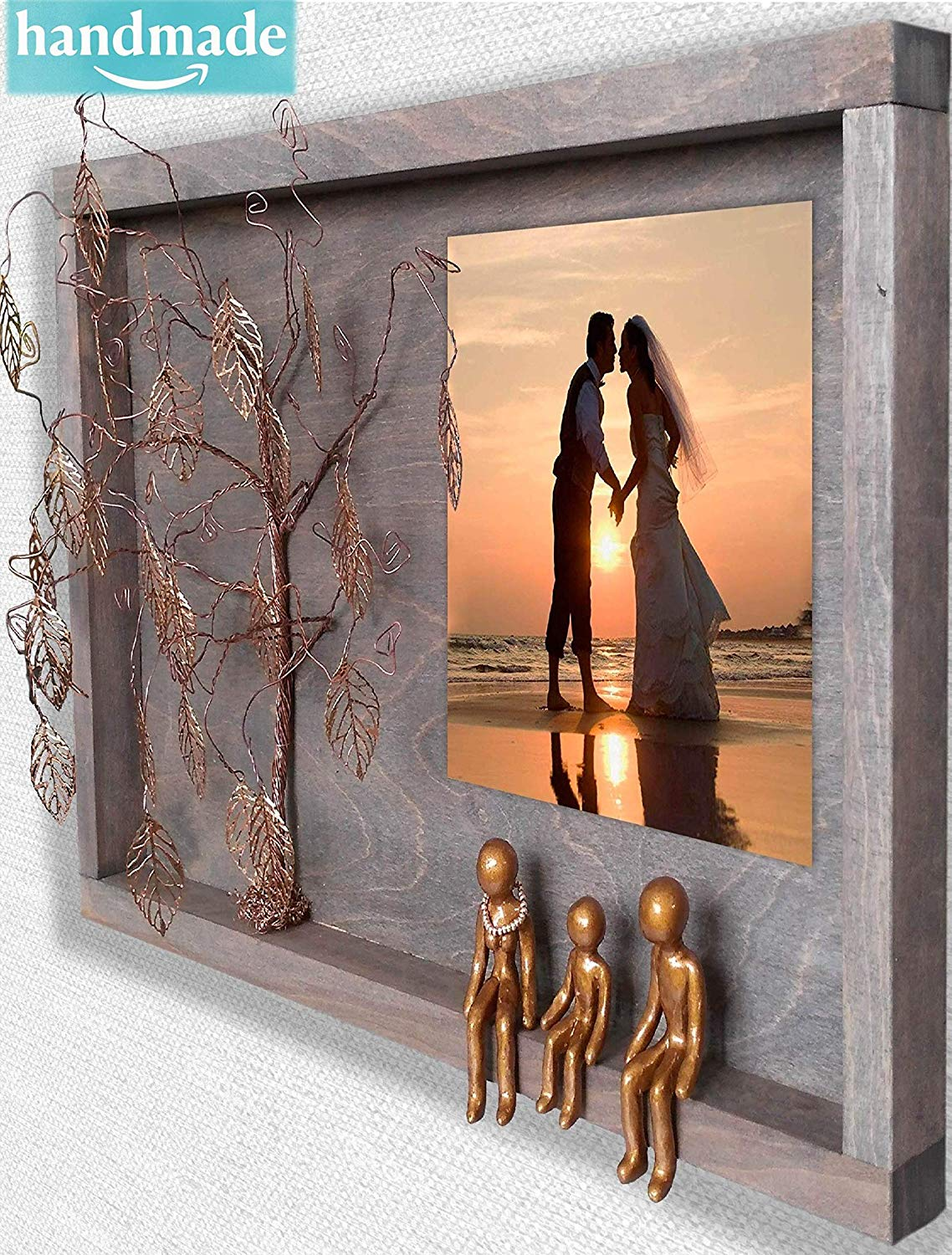 Handmade 3-Figurines 8th 19th Bronze Anniversary Picture Frame Collage forWall Charmers 8 19 21 Year Wedding Willow Family Tree Gift Wife Husband Men Her Mom Son Mother Personalized Gift OPB3R