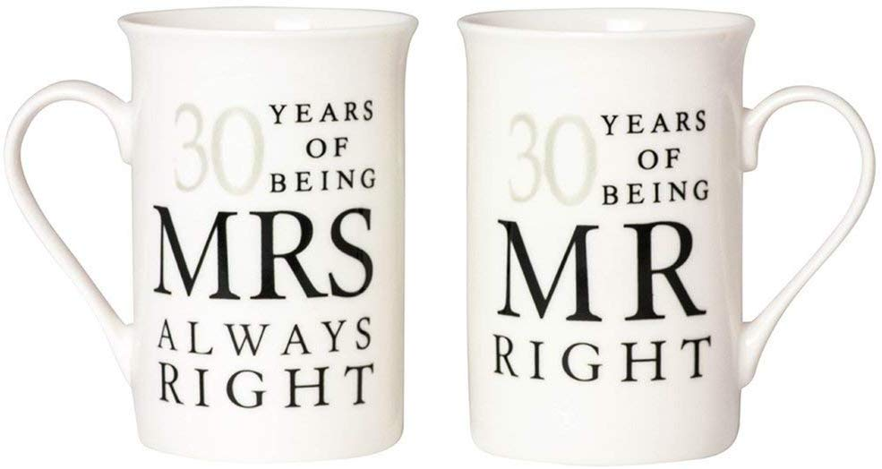 Haysoms Ivory 30th Anniversary Mr Right & Mrs Always Right Mug Gift Set