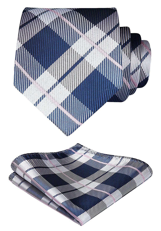 HISDERN Men's Plaid Dots Tie Woven Classic Necktie & Pocket Square Set