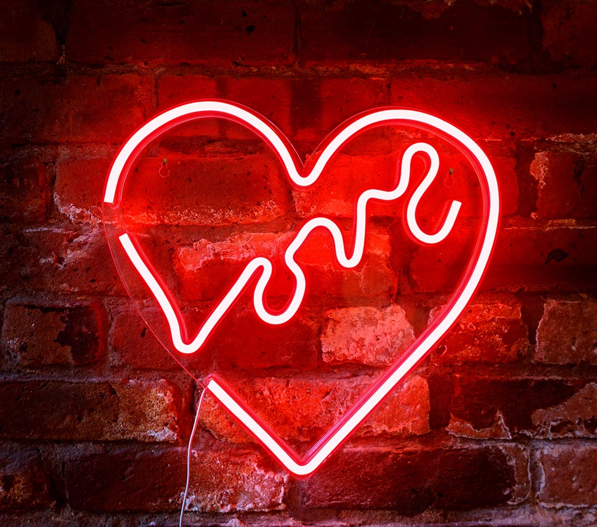 """Isaac Jacobs 14"""" x 14"""" inch LED Neon Red """"Love"""" Heart Wall Sign for Cool Light, Wall Art, Bedroom Decorations, Home Accessories, Party, and Holiday Decor: Powered by USB Wire (Heart)"""
