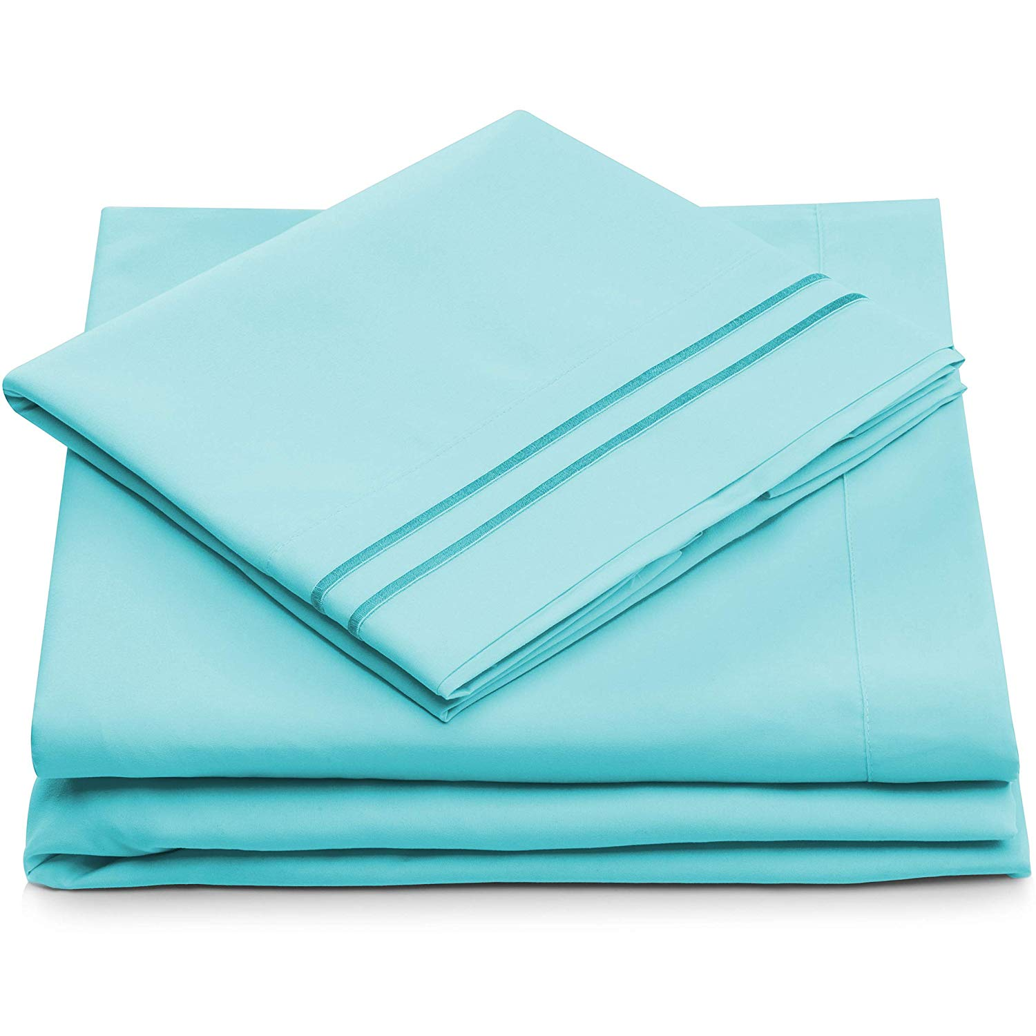 King Size Bed Sheets - Pastel Blue Luxury Sheet Set - Deep Pocket - Super Soft Hotel Bedding - Cool & Wrinkle Free - 1 Fitted, 1 Flat, 2 Pillow Cases - Aqua King Sheets - 4 Piece