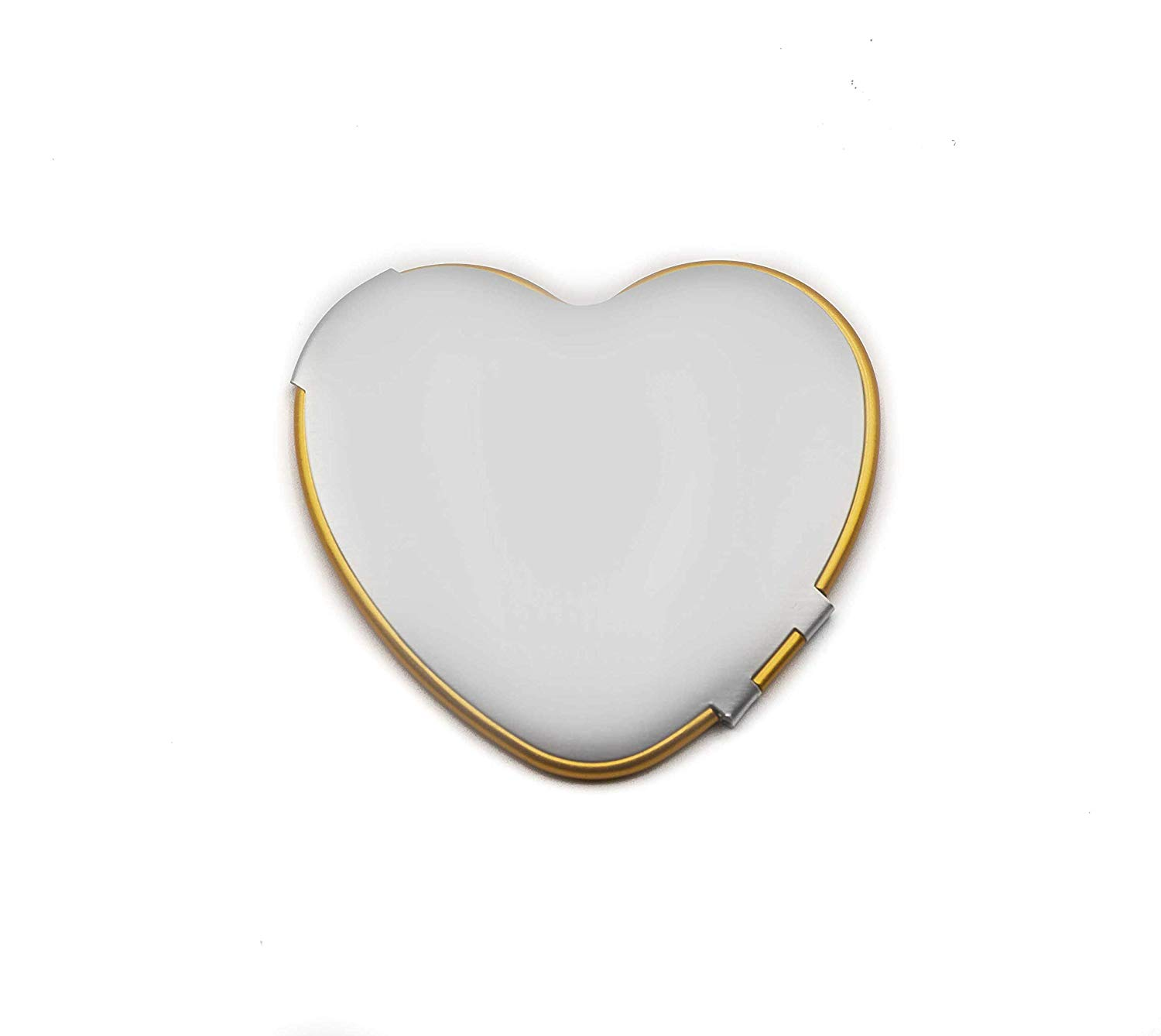 Ladies Pocket Mirror For Purse, Small Elegant Collectible Compact Mirrors - Perfect for Travel - 1x Trueview Vintage Handheld Makeup Mirror For All Your Personal Needs, Order Now! (Heart, Silver/Gold)
