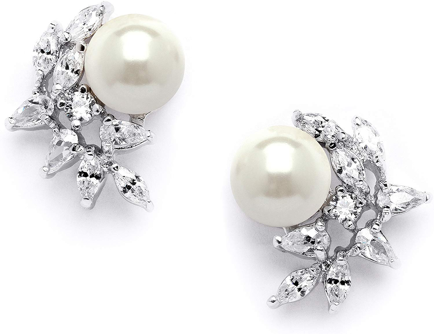 Mariell Ivory Pearls and CZ Cluster Wedding Earrings for Brides, Bridesmaids & Mother of the Bride