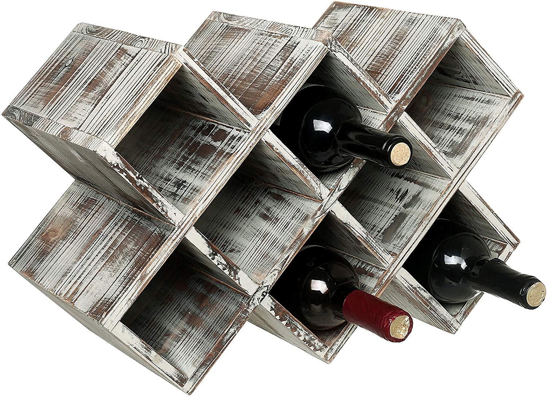 MyGift Countertop Rustic Torched Wood Wine Rack, Geometric Design 8-Bottle Storage Organizer