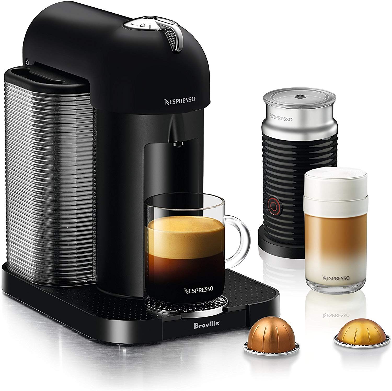 Nespresso by Breville BNV250BKM1BUC1 Vertuo Coffee and Espresso Machine, 19.25 x 11 x 15.25 in, Matte Black