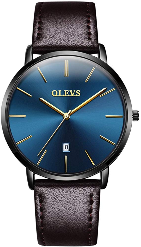 OLEVS Mens Minimalist Ultra Thin Watches Fashion Casual Analog Quartz Date Watch Waterproof,Male Slim Simple Alloy Big Face Dial Dress Wrist Watch with Retro Genuine Leather Band for Men YPF