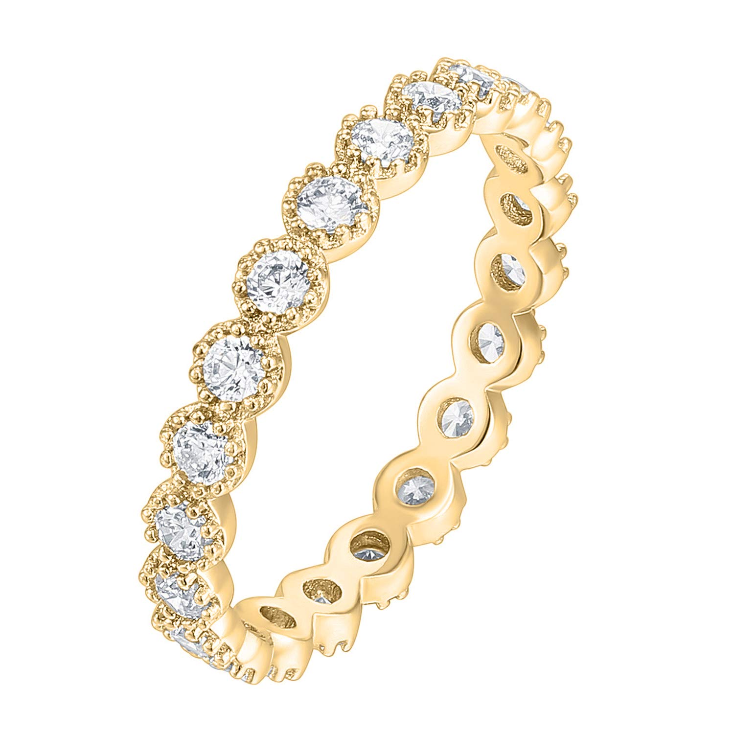 PAVOI 14K Gold Plated Sterling Silver Rings Cubic Zirconia Band | Marquise Milgrain Eternity Bands | Gold Rings for Women