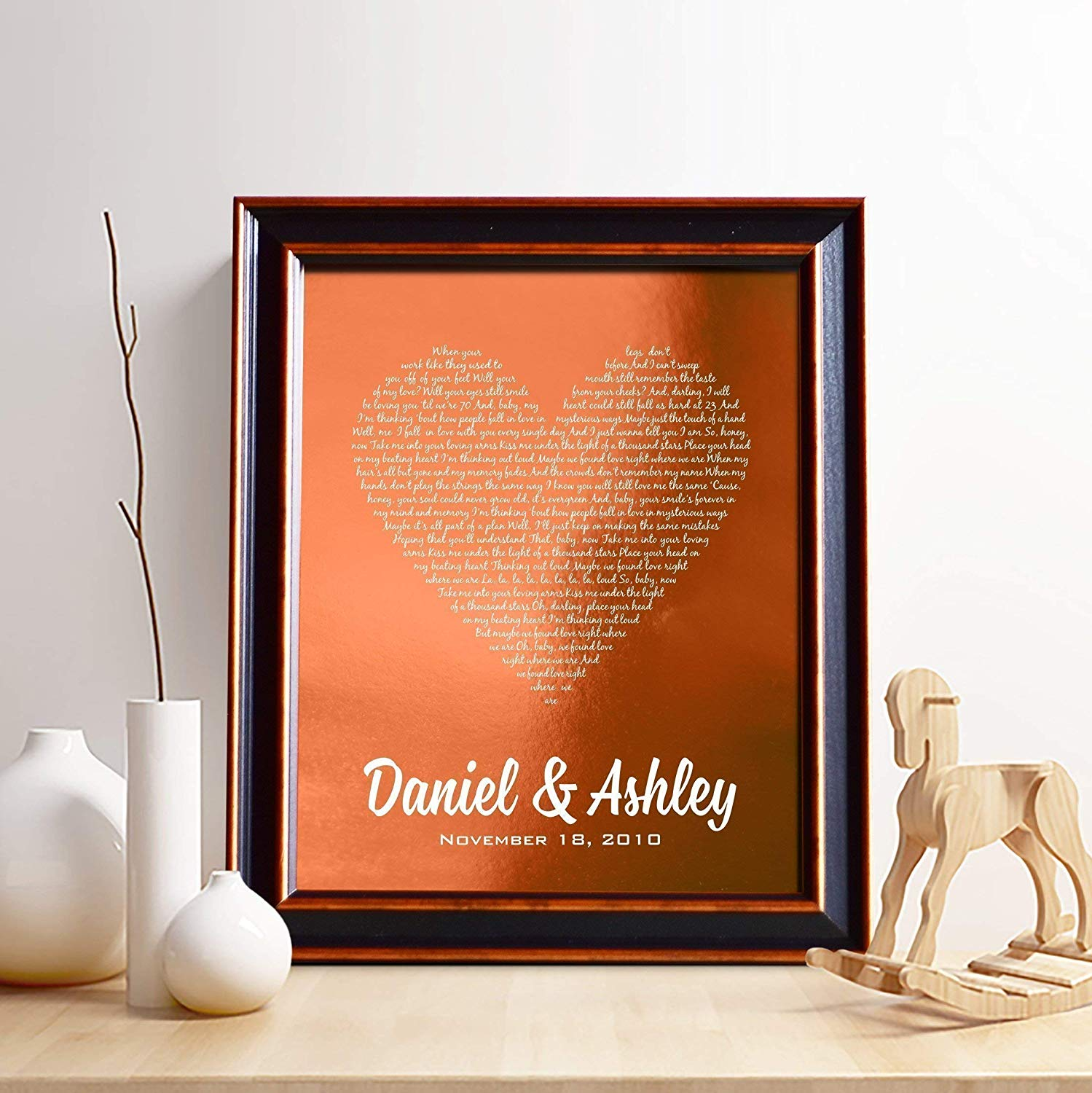 Personalized 7th or 22nd Copper Anniversary Gift for Him or Her, First dance song copper foil print