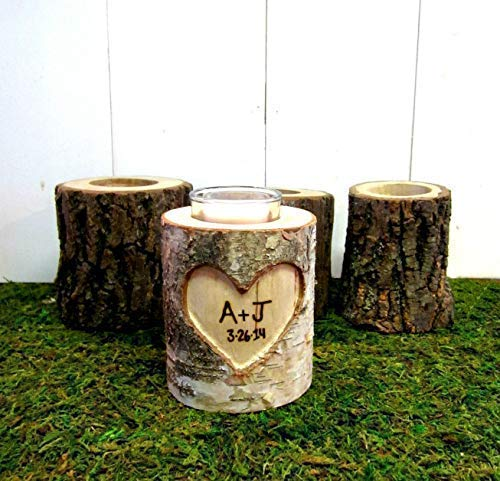 Romantic Couples Personalized 5 Year Anniversary Gift, Birch Branches Wood Log Rustic Wedding Candle Holder
