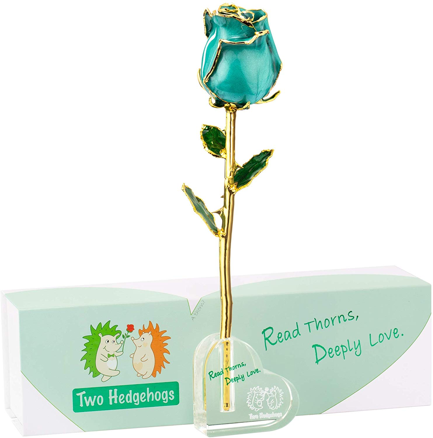 Two Hedgehogs Real Rose 24K Gold Dipped, Anniversary Valentines Day Love Gifts for Her, with Crystal Heart Stand (Luster Teal)