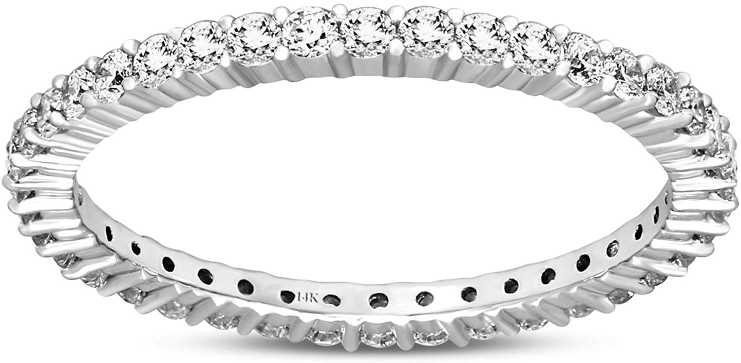 Valentines Day Diamond Ring Lab Grown 1 Carat Diamond Engagement Rings For Women Lab Created Diamond Rings SI-HI Quality 14K White Gold Diamond Band Rings For Women (Valentines Day Jewelry Gifts)