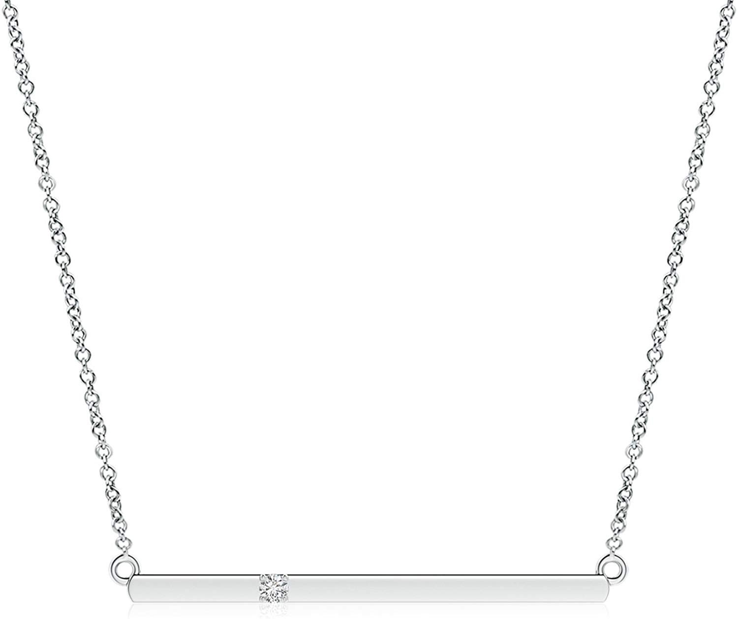 Valentines Day Sale-Prong Set Lab Grown Diamond Bar Necklace in 14k Gold (0.02 ctw, H Color, SI2 Clarity)