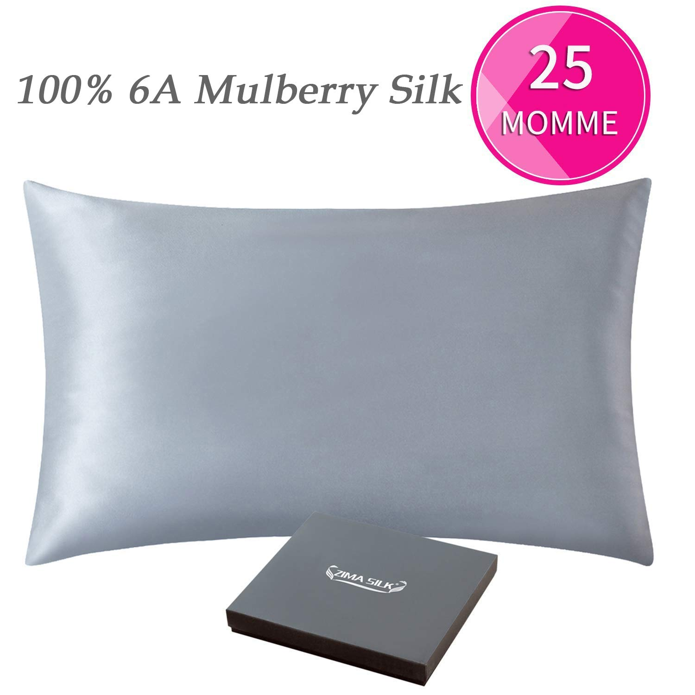 ZIMASILK 25 Momme 100% Mulberry Silk Pillowcase for Hair and Skin,Both Sides Natural Silk,Hidden Zipper Closure,1 Pc Gift Box (Iron Gray, Queen 20''x30'')