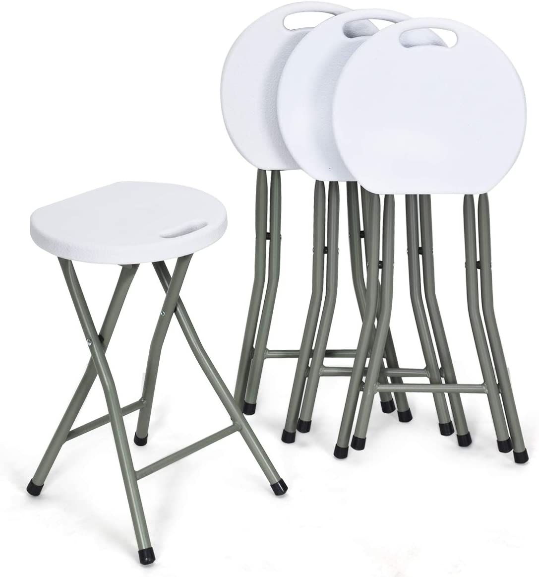 COSTWAY Set of 4 Folding Stool, Heavy Duty 18 inch Foldable Round Chair, Portable Collapsible Padded Seats with Durable Iron Legs, 300lbs Capacity for Adults, Suitable for Indoor and Outdoor (White)