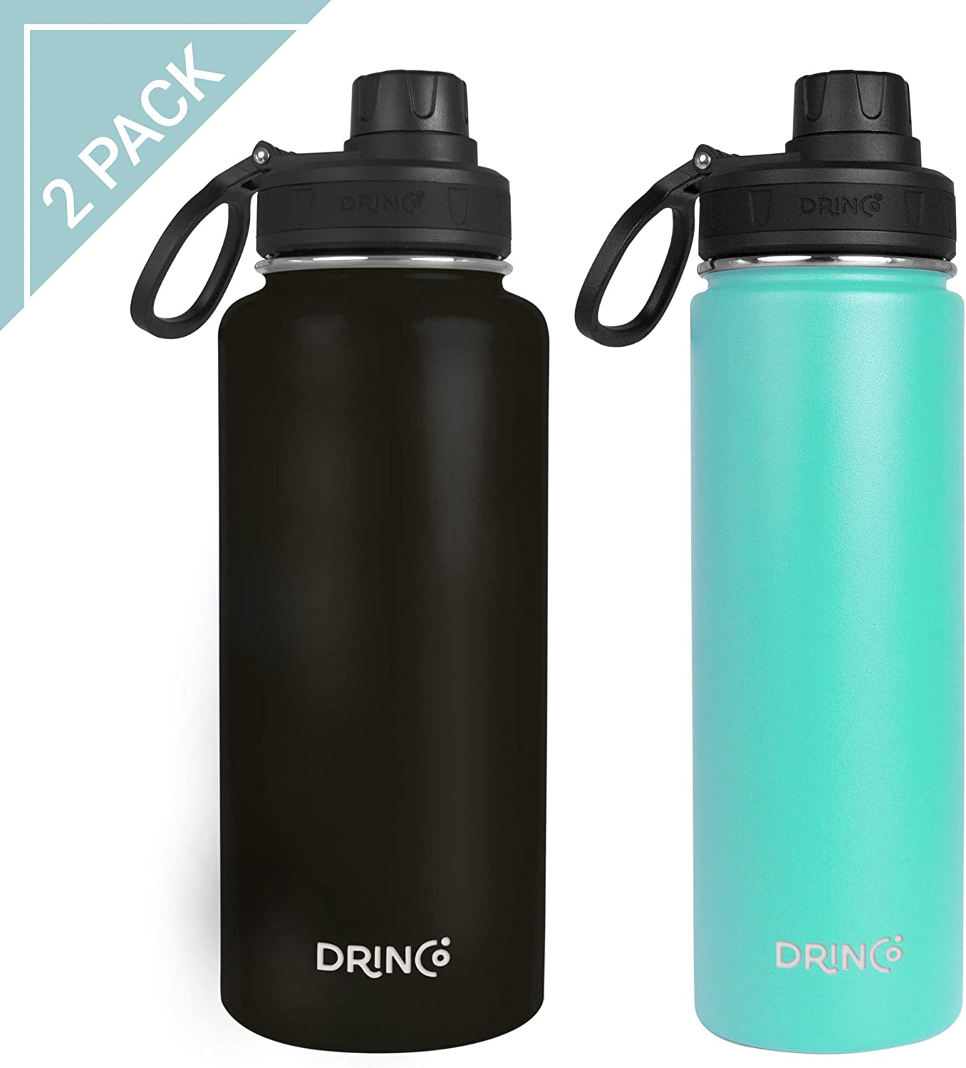 Drinco - Stainless Steel Water Bottle Double Wall Vacuum Insulated | 2 pack Perfect for Traveling Camping Hiking (Black/Teal, Combo 32oz & 20oz)