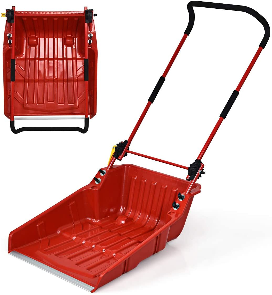 Goplus Poly Sleigh Shovel, Folding Scoop Snow Shovel with Wheels for Walkways, Sidewalks, Patios (Red)