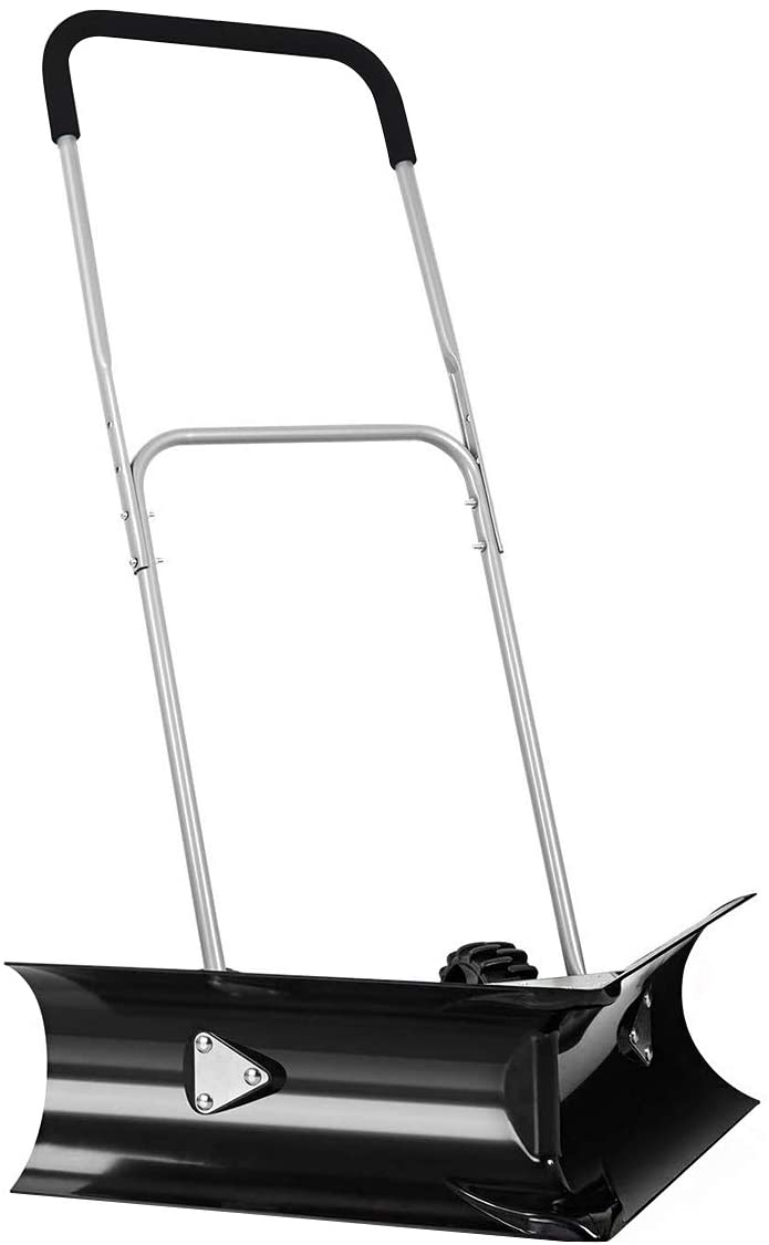 "GYMAX Dual Angle Snow Pusher, Heavy-Duty Manual Push Plow Snow Shovel w/EVA Covered Adjustable Handle and 6"" Anti-Skid Wheels (Black)"