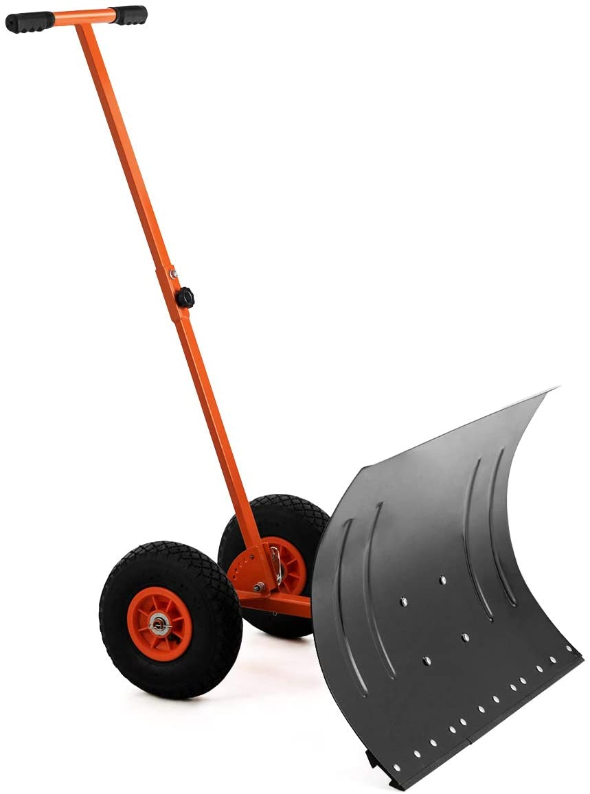 "GYMAX Wheeled Snow Pusher, Heavy Duty Rolling Snow Pusher with 29"" Plate & Anti-Skid Wheels & Adjustable Handle, Driveway or Pavement Snow Removal Tool (Orange)"