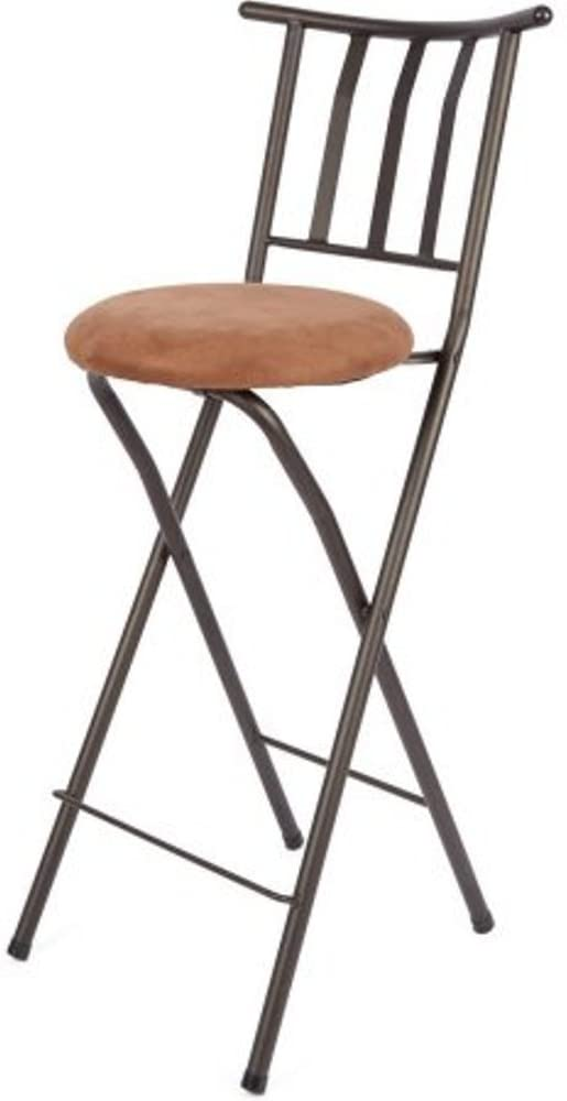 Home Furniture Sitting Bar Stool Bronze 30 Empress Metal Ladder Back Black Chair Microfiber cushion Folding feature Padded seat cushion Assembled Dimensions (L x W x H):42.50 x 4.00 x 20.00 Inches