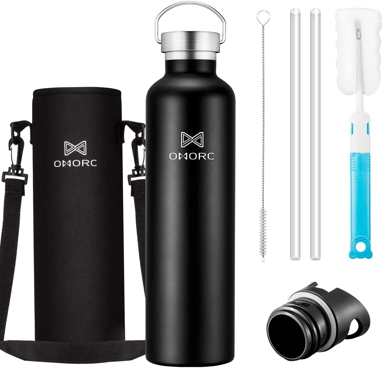 OMORC 316 Stainless Steel Water Bottle-20oz,34oz,Double Wall Vacuum Insulated Water Bottle,Stay Cold for 48 Hrs,Hot for 24 Hrs, Wide Mouth Thermo Travel Sports Water Bottle with Straw and 2 Lids
