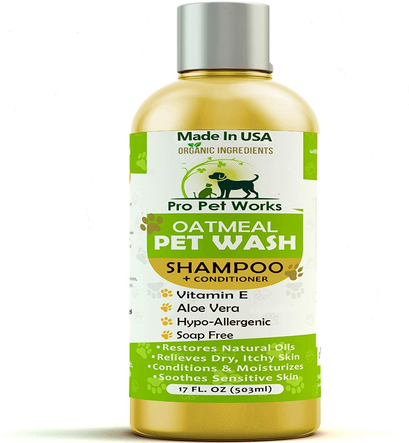 Pro Pet Works All Natural Organic Oatmeal Pet Shampoo Plus Conditioner - Hypoallergenic and Soap Free Blend with Aloe Gel for Allergies & Sensitive Skin- 17oz