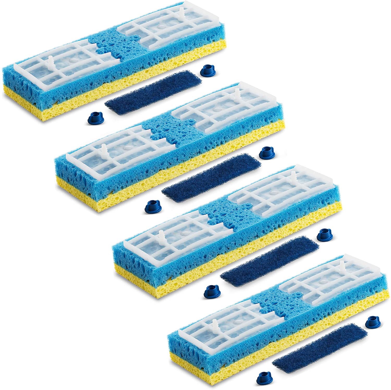 Quickie Sponge Mop Refill Type S [Set of 4] Sponge Mop Head Replacement - Quickie Mop Pads Refills 9X2.75 Inch - Quickie Mop Replacements #045 - Made in USA - Bundled With SEWANTA Eraser Cleaning Pad