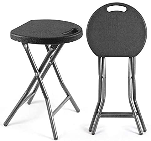 Rfiver Folding Stools 18.1 inch Portable and Foldable for Kids and Adults, Collapsible Round Stools Heavy Duty for Kitchen, Bathroom, Bedroom, Garden, Dorm, Rec Room or Gameroom, Set of 2 in Black