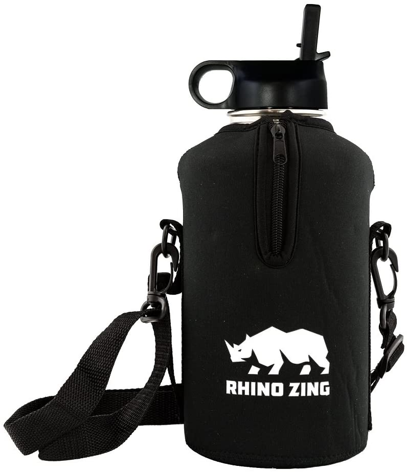 Rhino Zing 64-Ounce Beer Growler Stainless Steel Water Bottle, Sleeve/Pouch and Straw Lid. Insulated, Wide Mouth