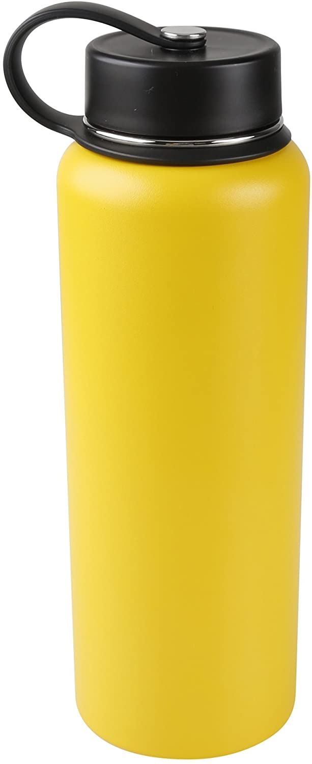 Tahoe Trails 40 oz Double Wall Vacuum Insulated Stainless Steel Water Bottle, Yellow