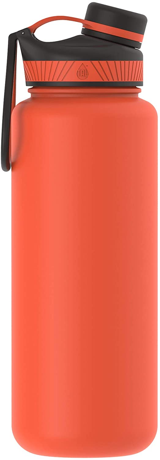 TAL Ranger Pro Water Bottle, Stainless Steel, Vacuum Insulated, Double Walled, Hot Cold, 40 Ounce (Coral Red)