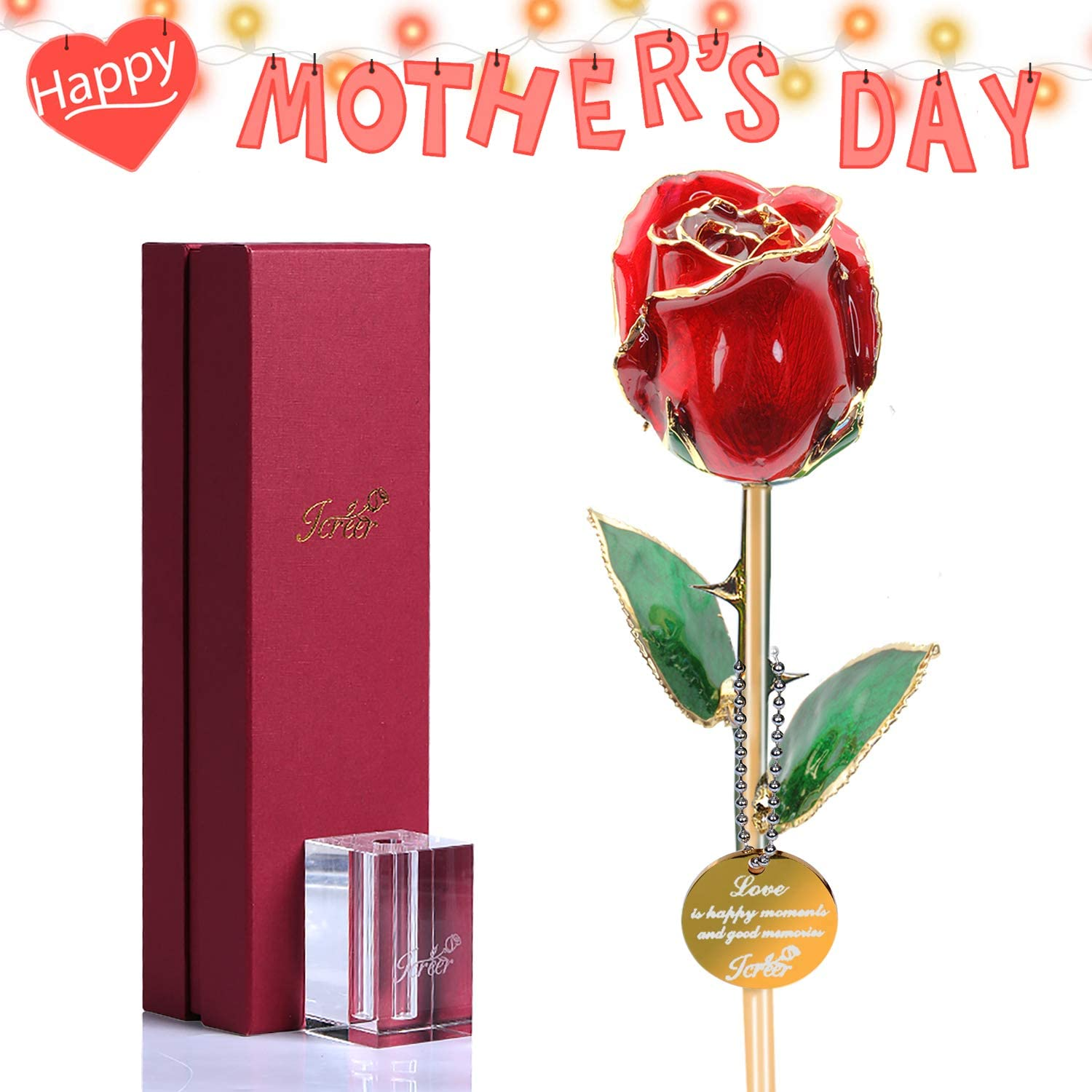 24k Gold Rose Flowers Gifts for Her Wife Girlfriend Mom,Best Gift for Valentine's Day Anniversary Birthday Mother's Day with K9 Crystal Stand (Red)