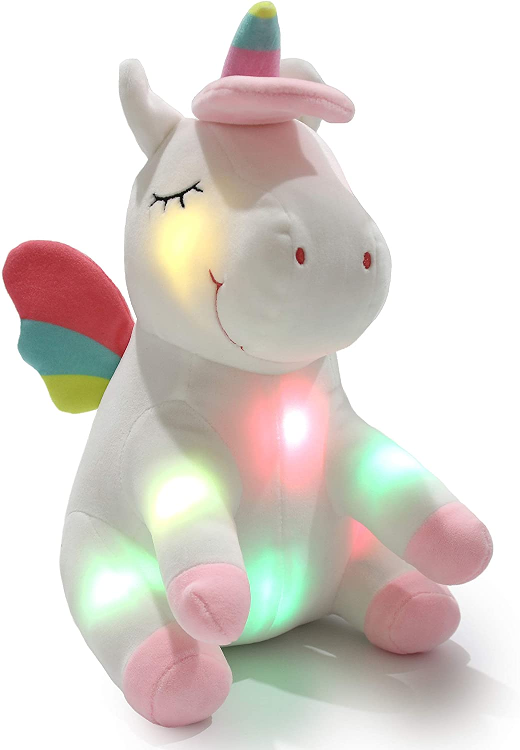 Athoinsu Light up Unicorn Soft Plush Toy LED Stuffed Animals with Colorful Night Lights Glowing Birthday for Toddler Girls Women, 12''