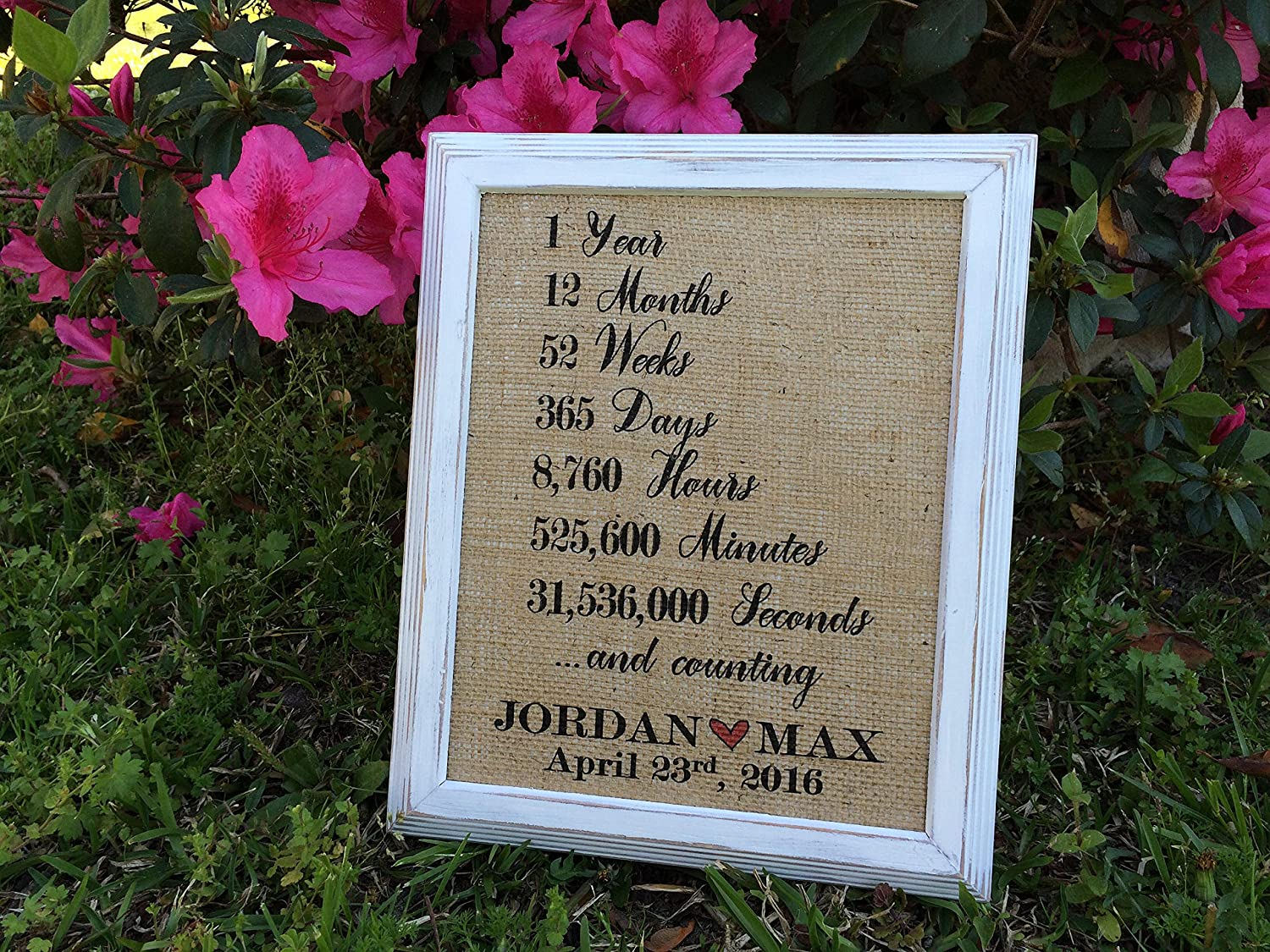 """Burlap """"1 Year ... And Counting"""" - Personalized Love Quote Burlap - Wedding Gift/Bridal Shower Gift - First Anniversary Gift for Him Her - First Year Love - 1st Anniversary Gifts for Husband and Wife"""