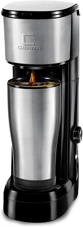 Chefman Instabrew Single Serve Maker Brewer for K-Cup Pods Coffee-Grounds & Loose-Leaf Tea w/Instant Reboil & Bonus Reusable Filter, Compact 14 oz, Black/Stainless Steel, Mug Not Included