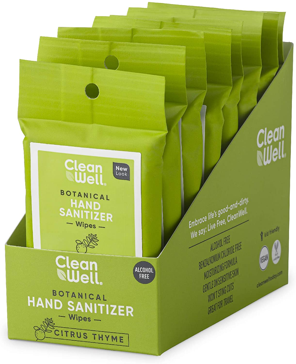 CleanWell Botanical Hand Sanitizer Wipes, Citrus Thyme, 10 count (8 PK) - Travel Size, Alcohol Free, Antibacterial, Kid Friendly, Plant-Based, Nontoxic, Cruelty Free, Moisturizing (Packaging May Vary)